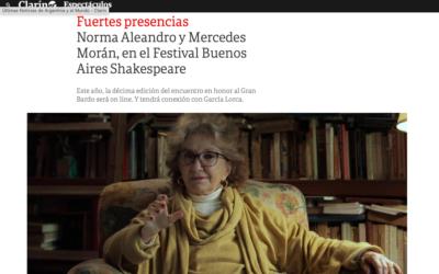 Diario Clarín: Fuertes presencias Norma Aleandro y Mercedes Morán, en el Festival Buenos Aires Shakespeare