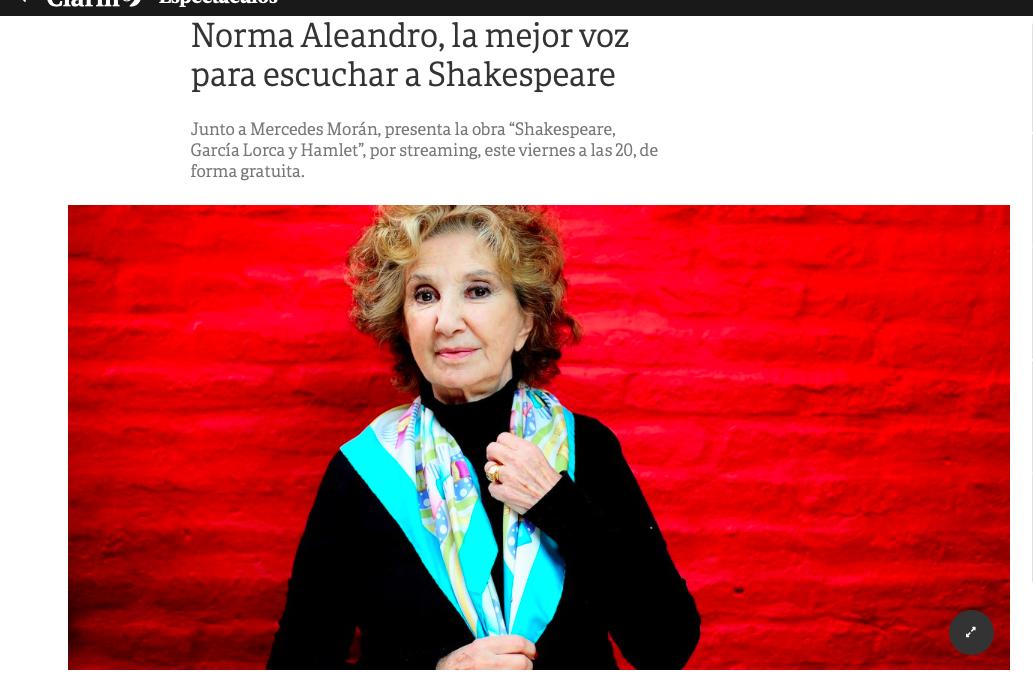 Diario Clarín: Norma Aleandro, la mejor voz para escuchar a Shakespeare