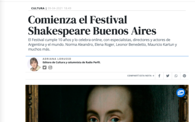 Revista Noticias: Comienza el Festival Shakespeare Buenos Aires