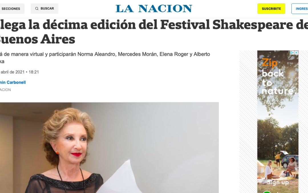 Diario La Nación: Llega la décima edición del Festival Shakespeare de Buenos Aires