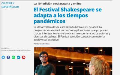 Diario Página 12: El Festival Shakespeare se adapta a los tiempos pandémicos